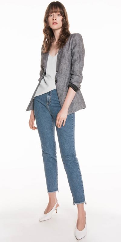 Sale | Linen Raised Collar Notch Jacket