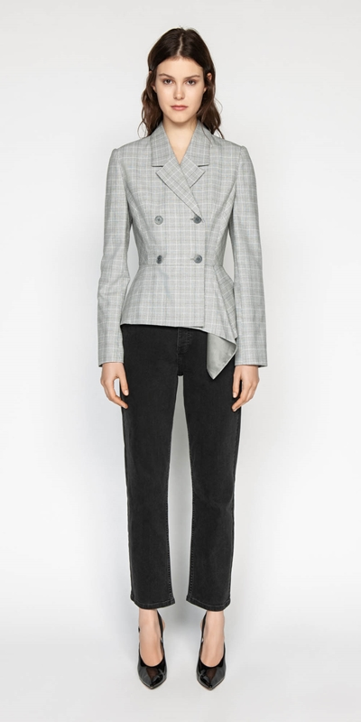 Jackets | Check Double Breasted Draped Jacket