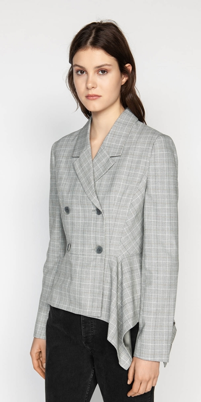 Wear to Work  | Check Double Breasted Draped Jacket