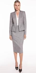Jackets | Grey Melange Collarless Jacket