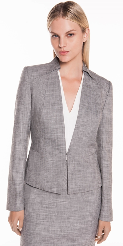 Jackets | Grey Melange Collarless Jacket