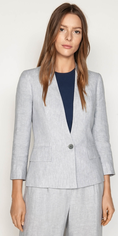 Jackets  | Grey Linen Collarless Jacket