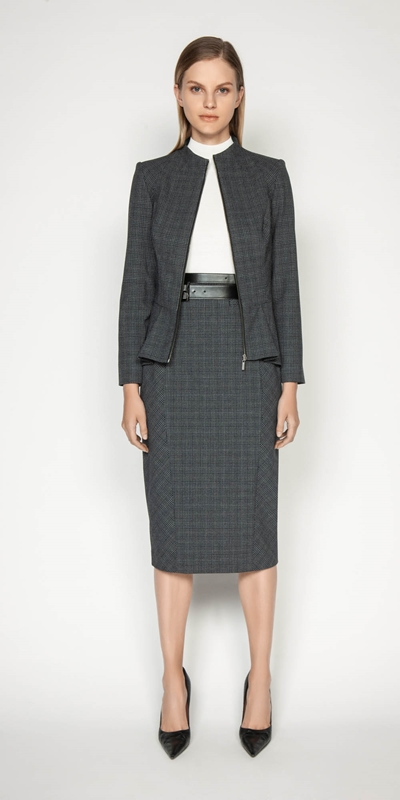 Wear to Work | Melange Check Peplum Jacket