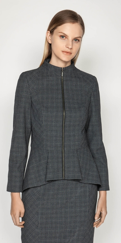 Jackets  | Melange Check Peplum Jacket