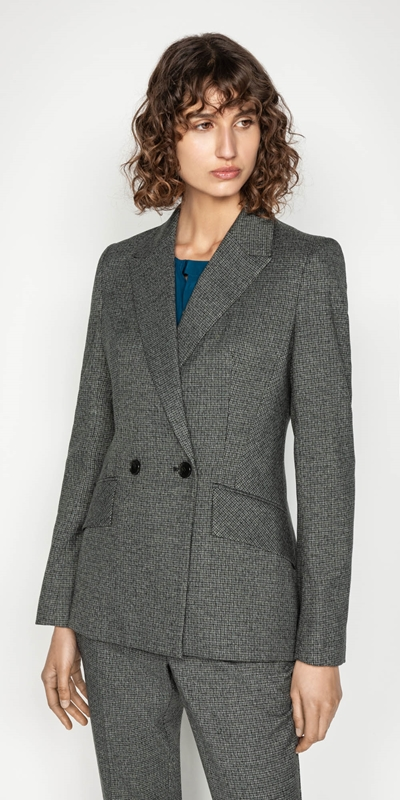 Jackets | Mini Check Double Breasted Jacket