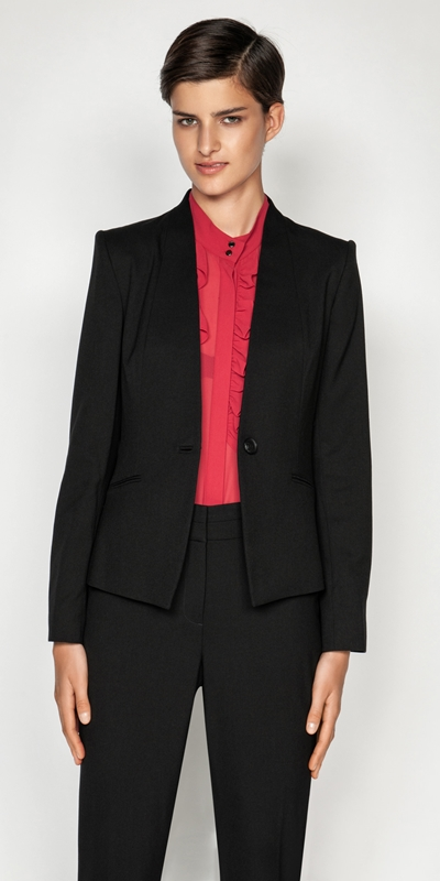 Jackets  | One Button Collarless Jacket