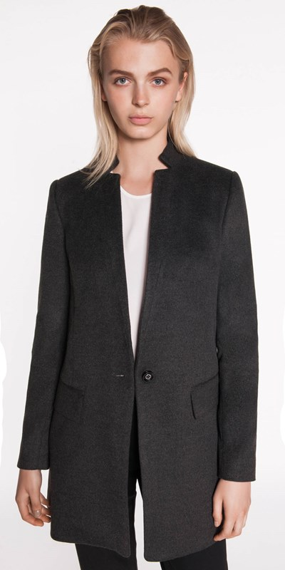 Jackets  | Inverted Collar Wool Blend Coat