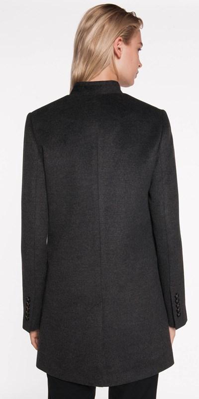 Coats | Inverted Collar Wool Blend Coat