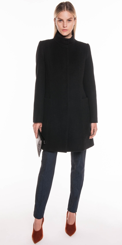 Coats | Textured Wool Stand Collar Coat