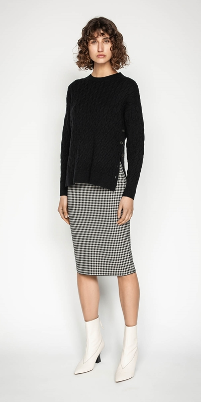 Sale | Houndstooth Milano Knit Skirt