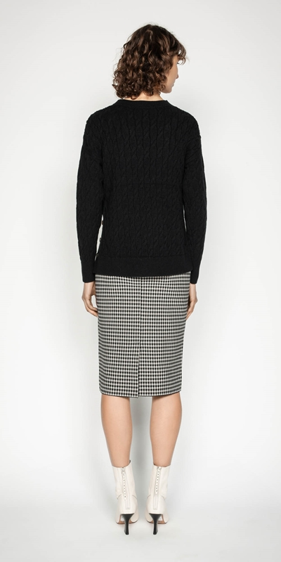 Knitwear | Houndstooth Milano Knit Skirt