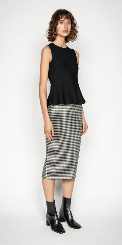 Sale | Houndstooth Milano Knit Midi Pencil Skirt
