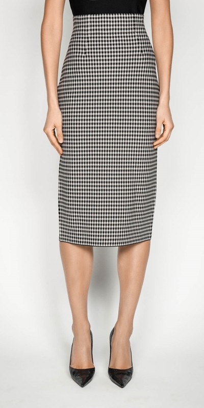 Wear to Work  | Houndstooth Milano Knit Midi Pencil Skirt