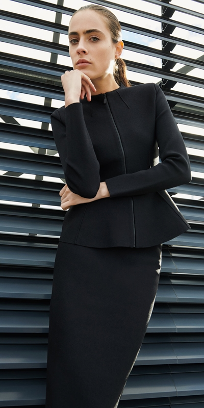 Jackets  | Milano Zip Front Peplum Jacket