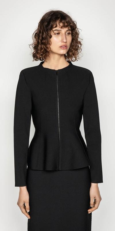 Knitwear | Milano Zip Front Peplum Jacket