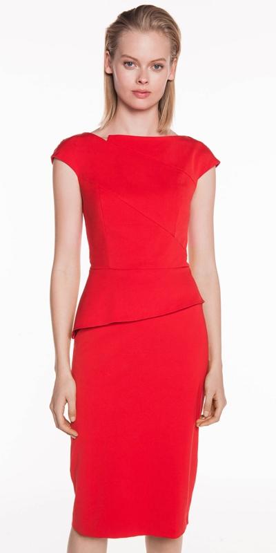Dresses    Faille Asymmetric Peplum Dress
