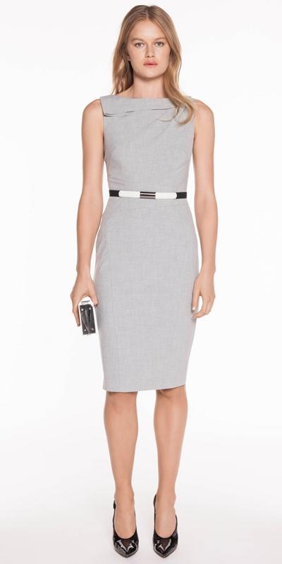 Sale | Grey Melange Draped Pencil Dress