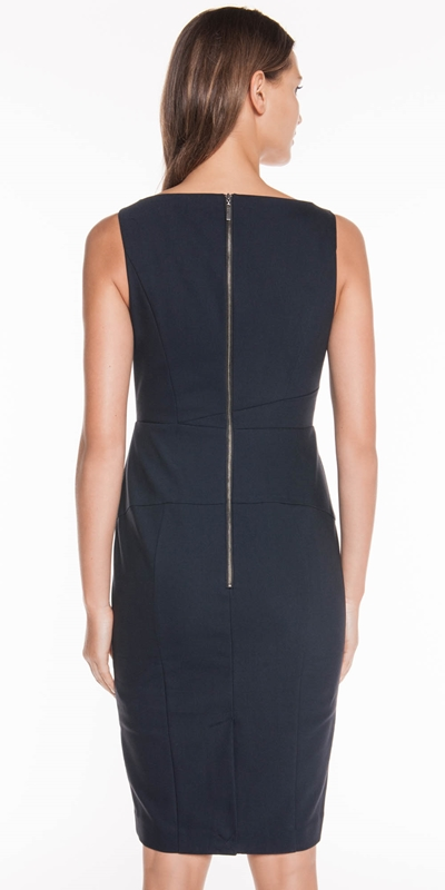 Dresses | Ink Double Weave Panelled Dress