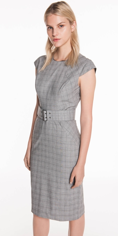Wear to Work  | Grey Check Pencil Dress