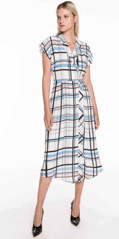 Sale | Check Fluted Midi Dress