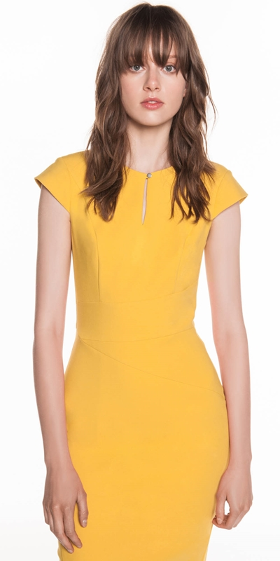 Dresses  | Mustard Asymmetric Pencil Dress