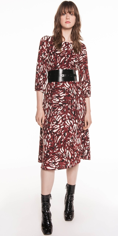 Sale | Abstract Leopard Boat Neck Dress