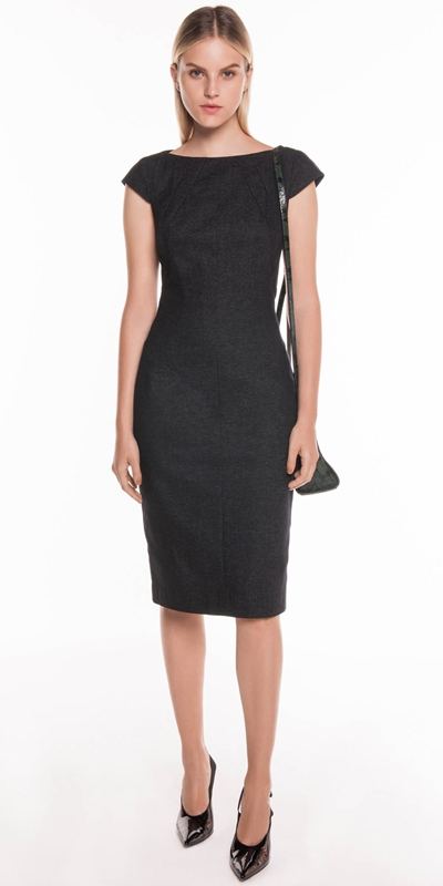 Dresses | Textured Indigo Panelled Pencil Dress