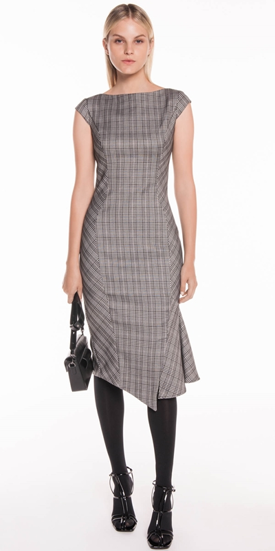 Sale | Gingham Check Asymmetric Frill Dress