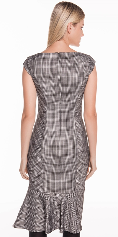 Dresses   Gingham Check Asymmetric Frill Dress