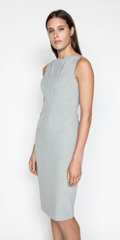Dresses  | Melange Draped Neck Pencil Dress