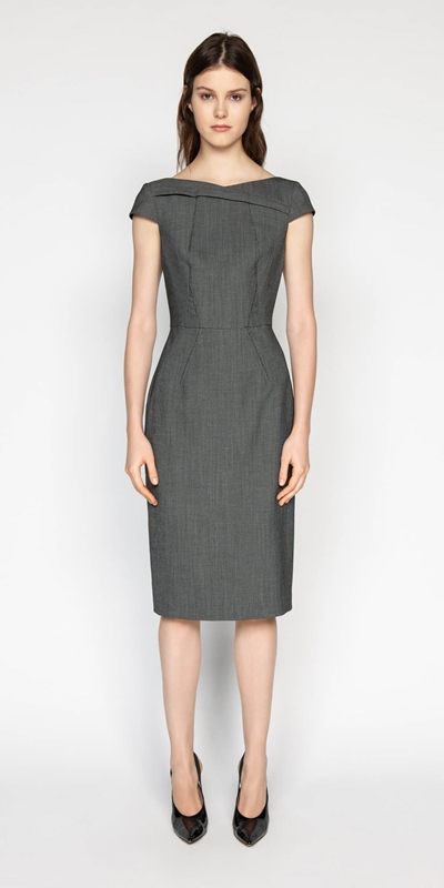 Dresses | Birdseye Asymmetric Boat Neck Dress