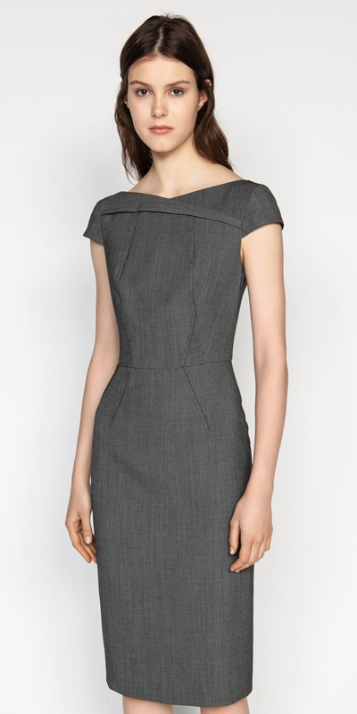 Sale  | Birdseye Asymmetric Boat Neck Dress