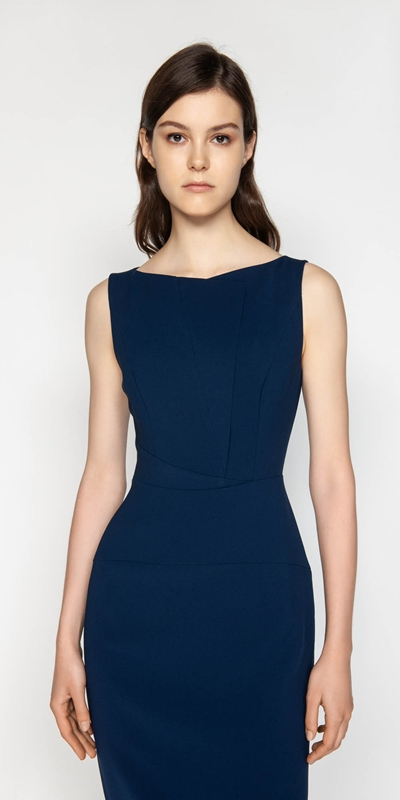 Dresses  | Draped Neck Panelled Pencil Dress