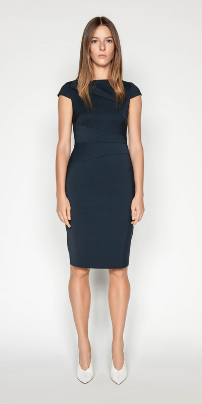 Dresses | Asymmetric Draped Neck Pencil Dress