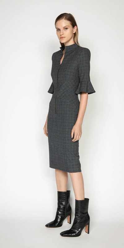 Wear to Work | Melange Check Pencil Dress