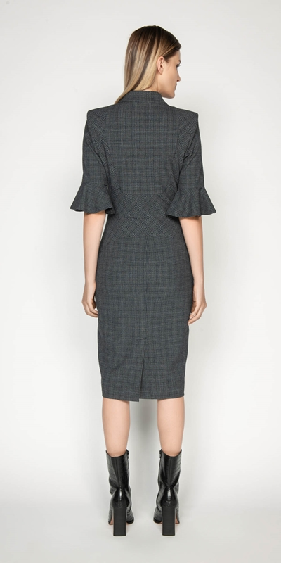 Dresses   Melange Check Pencil Dress
