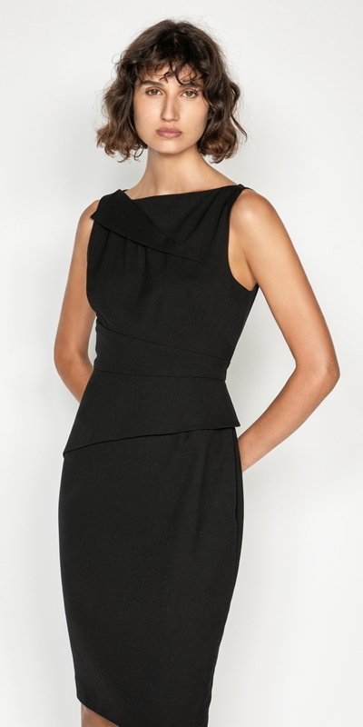 Cue Cares - Sustainable  | Asymmetric Draped Neck Pencil Dress